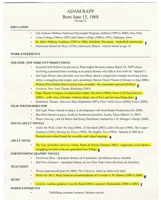 playwright adam rapp annotates his resume new york magazine