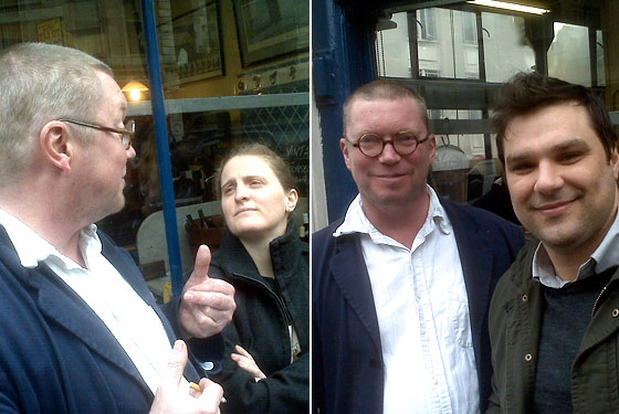 Left, April Bloomfield and Fergus Henderson; Right, Fergus with Nate Smith.