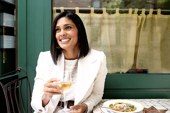 Rachel Roy lunches at Sant Ambroeus in the West Village.