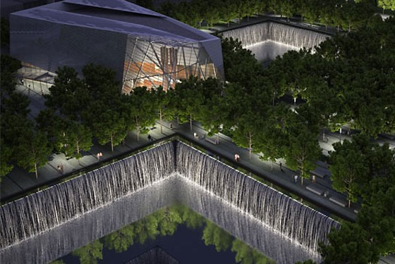 Design plans for the World Trade Center memorial museum pavilion. Waterfalls and pools will <br>mark the location of the towers.