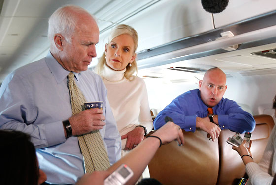 John and Cindy McCain with advisor Steve Schmidt.