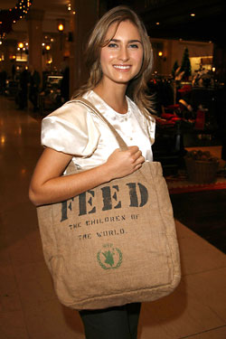 "Lauren Bush carrying her ""FEED Bag,"" one of many alternatives to plastics."