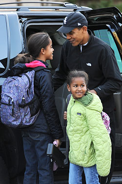 Malia and Sasha getting dropped off for school yesterday.