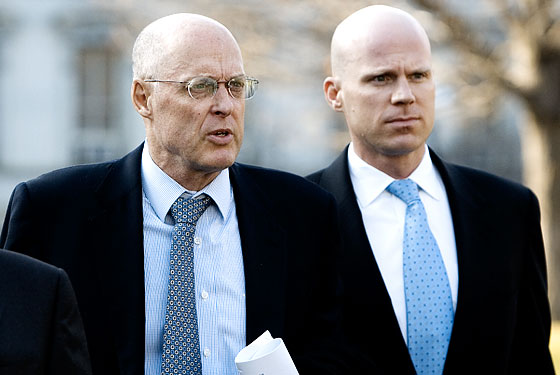 Left, Henry Paulson. Right: Paulson Doppelganger James Lambright