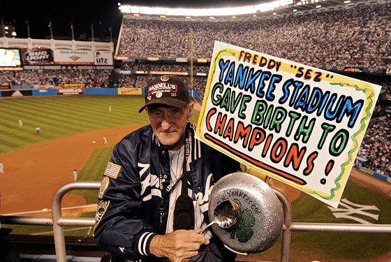 Freddy at the final game at the old Yankee Stadium.