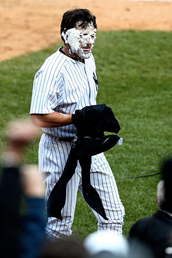 Johnny Damon, after being hit with a post-game pie by A.J. Burnett.
