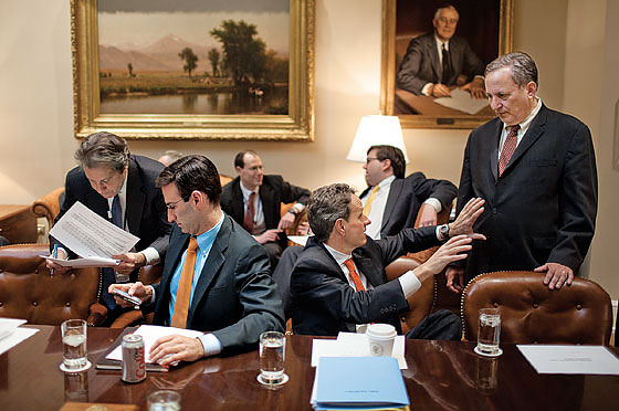 The Obama brain trust (front row, from left): Peter Orszag, Timothy Geithner, and Larry Summers