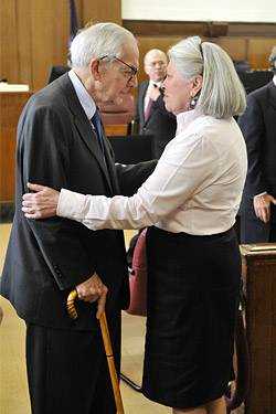 Charlene comforts Anthony in court on April 28.