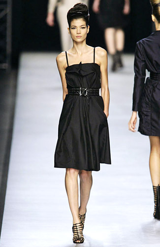 Yves Saint Laurent - Yves Saint Laurent - Spring 2009 Collection### :  knee length cinched waist little black dress yves saint laurent