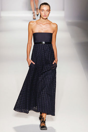 Sportmax Spring 2011 RTW :  blue sheer belted fitted bodice