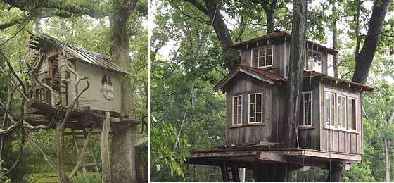 Left: Michael Ince's signiture Tolkeinesque style; Right: Pete Nelson's  120-square-foot tri-level tree palace.