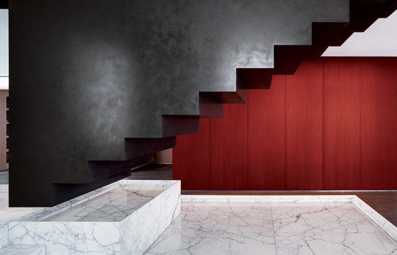 This massive steel staircase, suspended over marble reflecting pools, is the work of the late Mexican architect Ricardo Legorreta and his firm Legorreta + ...