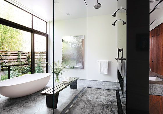 a bath suite in the heart of the city with that rarest of urban luxuriesa private garden - New York Bathroom Design