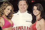 David Burke, with Hawaiian Tropic girls, at left. The chef at Rick&#39;s Cabaret (at right) might want to rethink his marketing strategy.