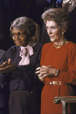 Mother Hale, as Nancy Reagan's guest during<br> Ronald's 1985 State of the Union Address.