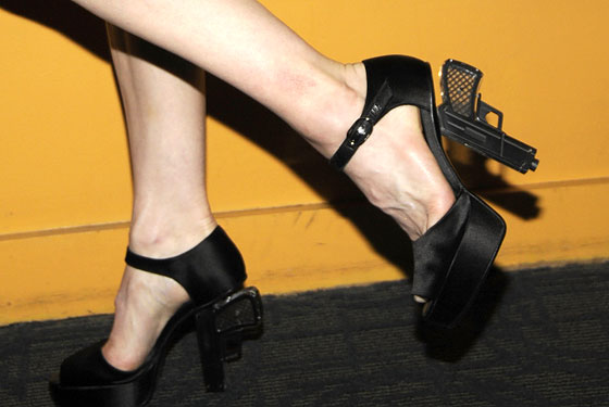 Activists Upset by Madonna's Gun Shoes -- The Cut: New York Magazine's Fashion Blog :  karl lagerfeld guns heels shoe