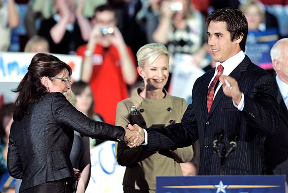 Mixing sports and politics has always been awkward. Almost as awkward as this handshake between Brady Quinn and Sarah Palin.