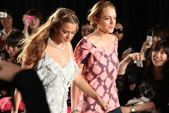 Charlotte Ronson and Lindsay Lohan strut the catwalk.