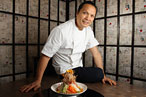 At Shang with chef Susur Lee and his signature Singapore Slaw.
