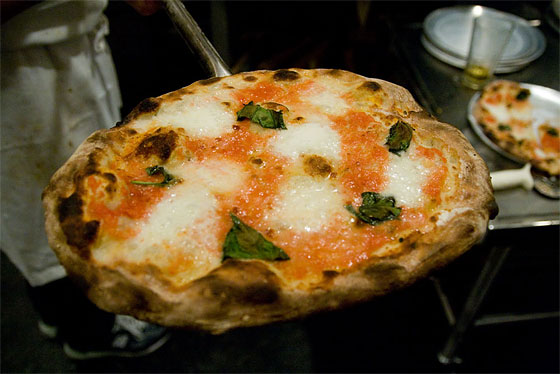 A Margherita pie fresh from the Earthstone gas oven.