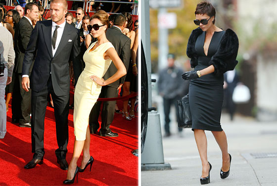 Victoria Beckham in Roland Mouret (left) and one of her own designs.