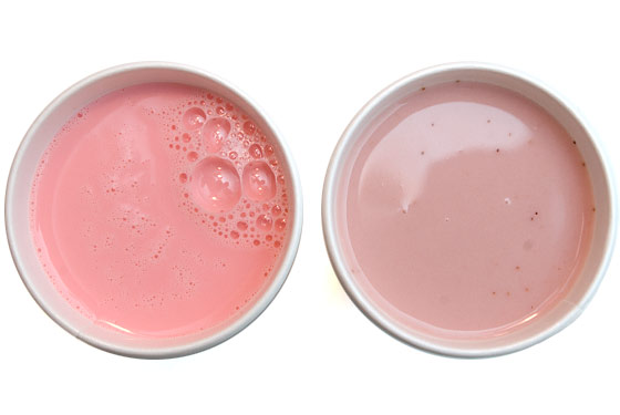 Left: Nesquik Strawberry Milk, Right: Momofuku Strawberry Milk