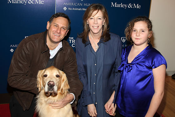 Craig Hatkoff, Jane Rosenthal, Julianna Hatkoff, and Buddy. Buddy's one regret in life is that he is not someone else.