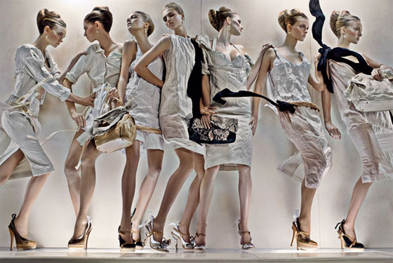 Prada's New Spring Women's Campaign Debuts -- The Cut: New York Magazine's Fashion Blog :  spring summer 2009 pencil skirts ad campaign neutrals