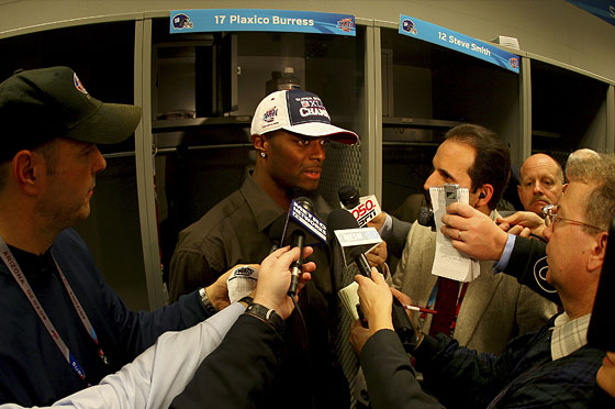 Plaxico's locker, with Plax.