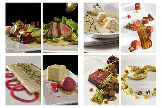 Left quadrant: Gramercy Tavern dishes. Right quadrant: wd~50 dishes.