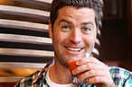 Peter Evans takes his carrot-ginger juice with breakfast at Olives.