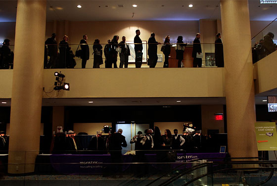 The line at a Monster.com job fair yesterday at the Marriott in Times Square. Nearly 4,000 people showed up.