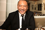 <i>Elle</i> creative director Joe Zee with breakfast at Café Cluny.