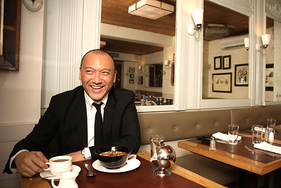 Elle creative director Joe Zee with breakfast at Café Cluny.