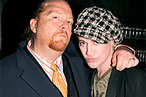 Mario Batali and designer Richie Rich<br> at the <em>Management</em> screening.