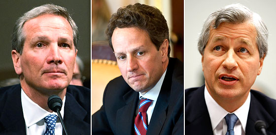 Alan Schwartz, left, interrupted the meals of Geithner and Dimon, right.