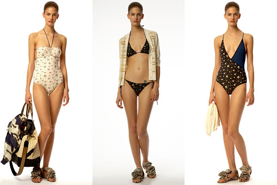 Bandeau-top bathing suit, $250, Two-piece triangle-top bikini, $225 and patchwork bathing suit with crisscross straps, $250.