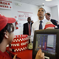 Obama has done an unprecedented number of burger-joint photo ops.