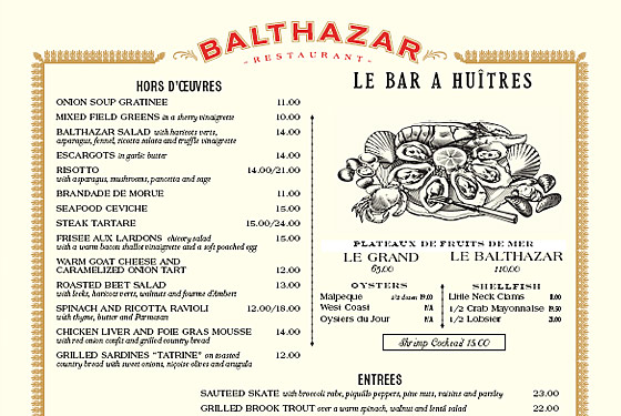 Balthazar's menu is a lesson in good salesmanship.