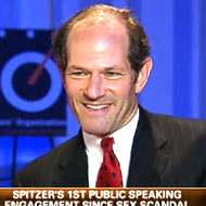 Spitzer on Fox Business Network earlier this summer, practicing his moves.