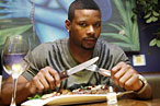 Jets safety Kerry Rhodes likes the steak at Ricardo's in Harlem.