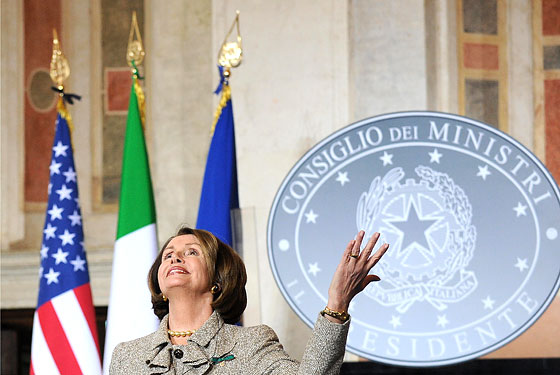 Nancy Pelosi, enjoying <s>Afghanistan</s> Italy.