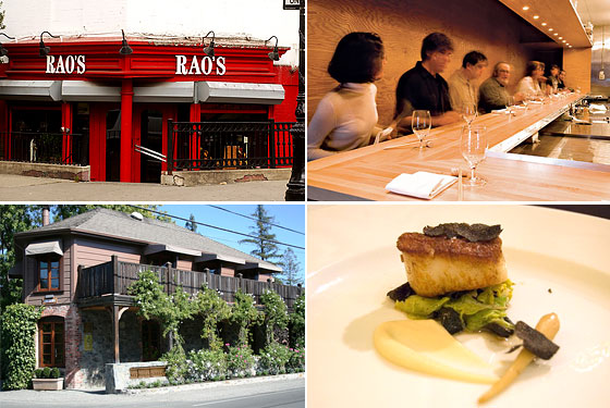 Clockwise, from top left: Rao's, Momofuku Ko, Schwa, and French Laundry.