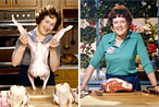 Meryl Streep playing Julia Child, and Julia Child.