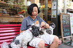 Chef Anita Lo likes the panini at Murray's Cheese, and so do her dogs, Adzuki (who she calls Zucchini), left, and Mochi, right.