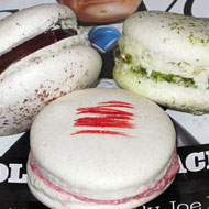Dessert Club, Chikalicious macarons: Chocolate, green tea, and strawberry.