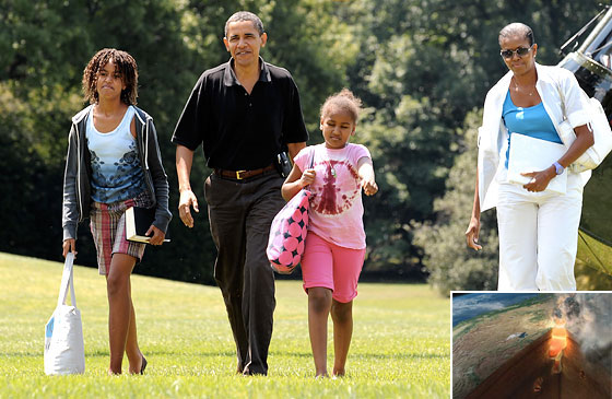 The Obamas, blissfully unaware of the enormous tube of flame and peril that awaits them in Wyoming.