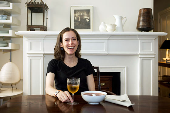 Amanda Hesser makes lunch in her home kitchen.