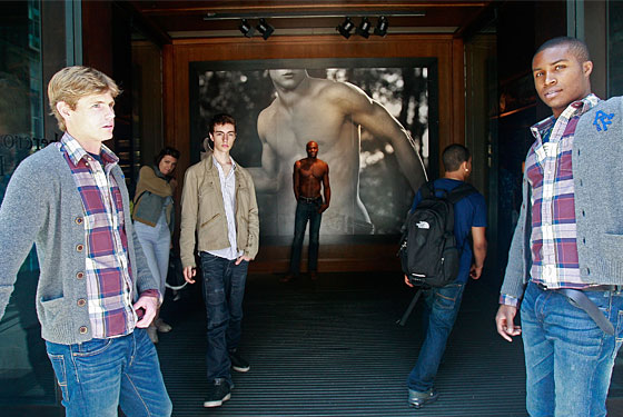 Miraculously clothed gatekeepers at New York's Abercrombie flagship.