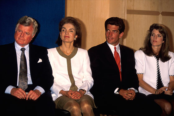 Kennedy in 1991 with Jackie Onassis, JFK Jr., and Caroline.